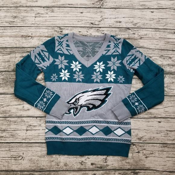 Nwot Philadelphia Eagles Nfl Big Logo Ugly Sweater